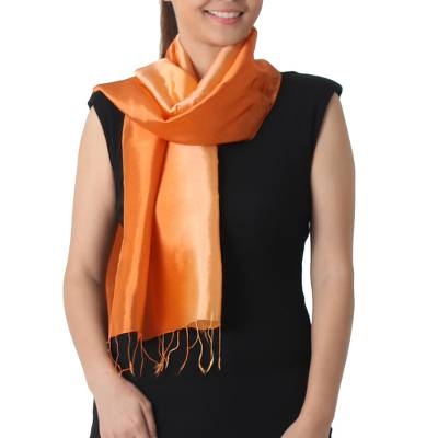 Rayon and silk blend scarf, 'Shimmering Daisy' - Shimmering Rayon and Silk Blend Scarf in 2-tone Orange