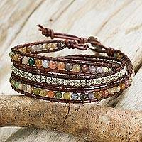 Jasper wrap bracelet, 'Colorful Enigma' - Jasper and 950 Silver Wrap Style Bracelet from Thailand