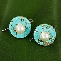 Calcite and cultured pearl drop earrings, 'Bohemian Moon' - Turquoise Color Calcite Earrings with Cultured Pearls