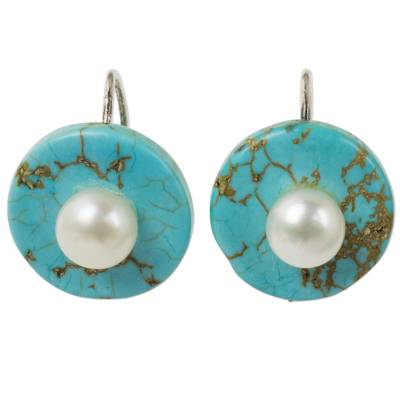 Turquoise Color Calcite Earrings with Cultured Pearls