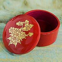 Lacquer wood jewelry box, 'Floral Thai Splendor' - Golden Flowers on Red Wooden Jewelry Box with Velvet Lining