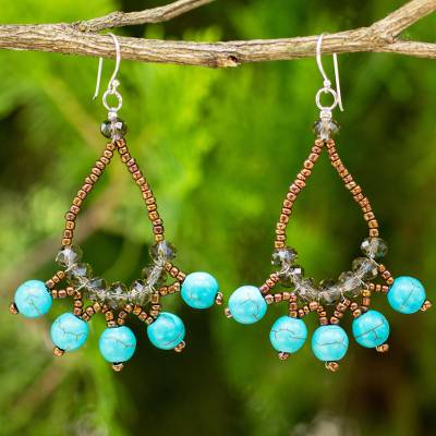 Beaded earrings, 'Turquoise Harmony' - Artisan Crafted Jewelry Blue and Brown Beaded Earrings