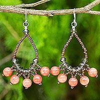 Beaded earrings, 'Orange Harmony' - Artisan Crafted Brown Orange Beaded Earrings