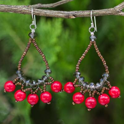 Beaded earrings, 'Red Harmony' - Artisan Crafted Brown Red Beaded Silver Hook Earrings