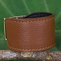 Leather wristband bracelet, 'Courage in Chocolate Brown' - Thai Handcrafted Chunky Brown Leather Wristband
