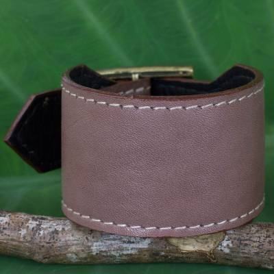 Leather wristband bracelet, 'Courage in Versatile Grey' - Thai Handcrafted Leather Wristband in Grey-Brown