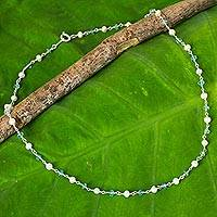 Cultured pearl and apatite strand necklace, Luminous Morn