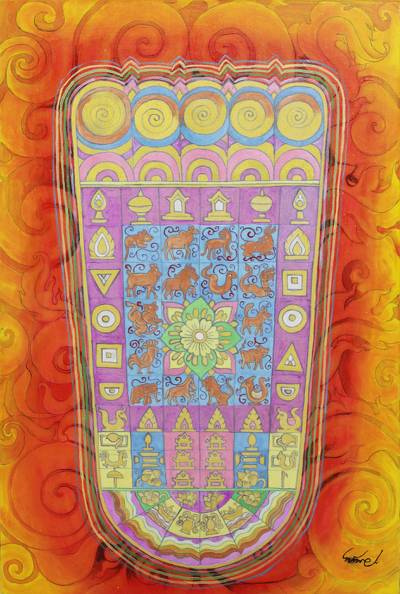 Buddhism Theme Footprint Painting in Warm Colors