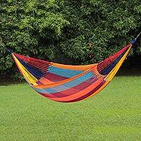 Rope hammock, 'Supreme Relaxation' (double) - Thai Weatherproof Multicolored Acrylic Rope Hammock (Double)