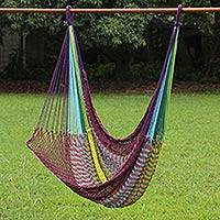 Cotton rope hammock swing, 'Relaxation in Mind' - Hand Woven Cotton Rope Hammock Swing in Multicolor
