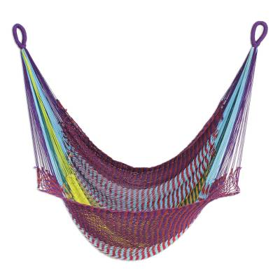 Hand Woven Cotton Rope Hammock Swing in Multicolor