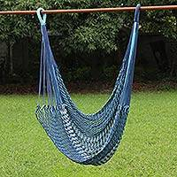 Cotton rope hammock swing, 'Breezy Relaxation' - Blue Cotton Hammock Swing Hand Woven in Thailand