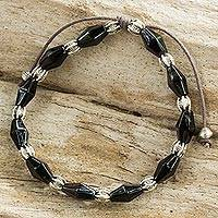 Black agate and silver beaded bracelet, 'Enchantment in Black' - Adjustable Black Agate and 950 Silver Hill Tribe Bracelet
