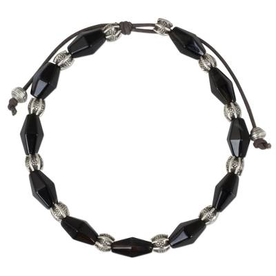 Adjustable Black Agate and 950 Silver Hill Tribe Bracelet