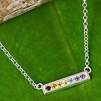 Multi-gemstone pendant necklace, 'Rainbow Chakra' - Multi Gemstone Chakra Pendant Necklace in Sterling Silver