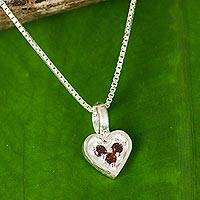 Garnet pendant necklace, 'Heart's Treasure' - Heart Shaped Pendant Necklace with Three Garnets