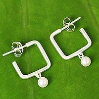 Cultured pearl half-hoop earrings, 'Femininity Squared' - Cultured Pearl and Brushed Satin Silver Half Hoop Earrings