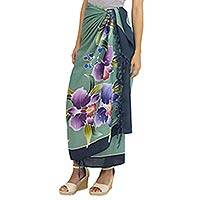 Rayon batik sarong, 'Thai Summer' - Artisan Crafted Rayon Floral Green and Dark Teal Sarong