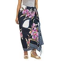 Rayon batik sarong, 'Luminous Orchids' - Artisan Crafted Black Rayon Sarong with Floral Motif
