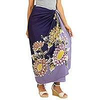 Rayon batik sarong, 'Thai Asters' - Hand Crafted Purple Rayon Sarong with Floral Motif