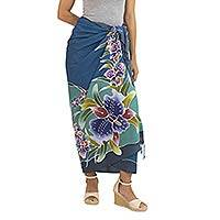 Rayon batik sarong, 'Grand Cattleya' - Hand Crafted Blue Rayon Sarong with Orchid Motif
