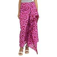 Silk batik sarong, 'Cherry Spiral' - Silk Batik Sarong in Red and Pink from Thailand