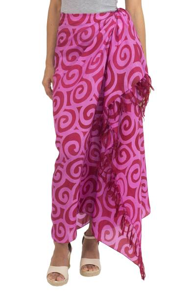 Silk Batik Sarong in Red and Pink from Thailand