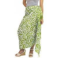 Silk batik sarong, 'Lime Spiral' - Handcrafted Thai Silk Batik Sarong in Green and White