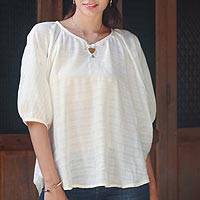 Cotton blouse, 'Wondrous in Cream' - Cotton Blouse in Cream Color with Butterfly Sleeves