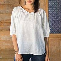 Cotton blouse, 'Wondrous in White' - White Cotton Blouse Semi Sheer from Thailand