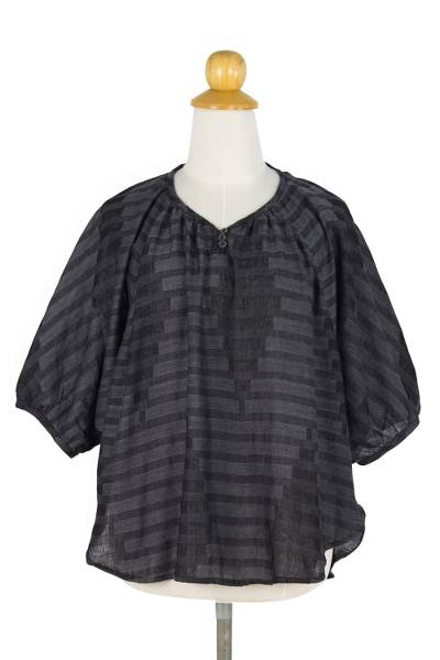 Cotton blouse, 'Wondrous in Black' - Cotton Blouse in Smokey Black with Butterfly Sleeves