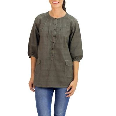 Cotton tunic, 'Nature Walk in Olive' - Cotton Tunic in Dark Olive with 2 Pockets from Thailand