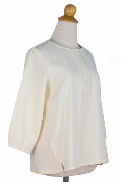 Cotton blouse, 'Cream Thai Style' - Cotton Blouse in Cream Color Round Neck and Long Sleeves