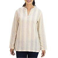 Cotton tunic, 'Cool Relax in Tan Brown' - Brown Stripes over Tan Cotton Tunic from Thailand