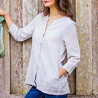 Cotton tunic, 'Thai Khaki Blue' - Cotton Tunic in Blue Stripes on Grey with 2 Pockets