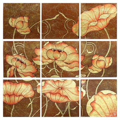 Set of 9 Paintings Depicting Lotus Blossoms