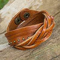 Leather wrap bracelet, 'Tan Boho Thai' - Women's Tan Leather Wrap Bracelet with Aged Brass Studs