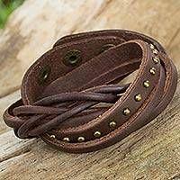 Leather wrap bracelet, 'Brown Boho Thai' - Women's Jewelry Brown Leather Wrap Bracelet