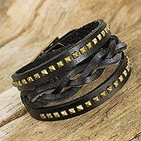 Leather wrap bracelet, 'Black Strong' - Black Leather Wrap Bracelet for Women with Aged Brass Studs