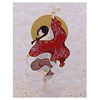 'Contemporary Lanna Girl I' - Original Painting of a Dancing Woman from Thailand