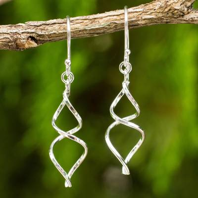 Sterling silver dangle earrings, 'Lotus Whirl' - Sterling Silver Artisan Crafted Earrings from Thailand