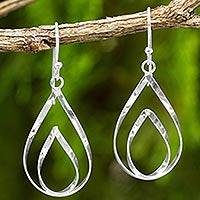 Sterling silver dangle earrings, 'Lotus Flame' - Polished Sterling 925 Fair Trade Floral Earrings