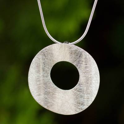 Sterling silver pendant necklace, 'Pure Moon' - Contemporary Brushed Satin Sterling Silver Pendant Necklace