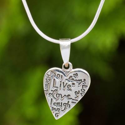Sterling silver pendant necklace, 'Live, Love, Laugh' - Inspirational Sterling Silver Heart Pendant Necklace
