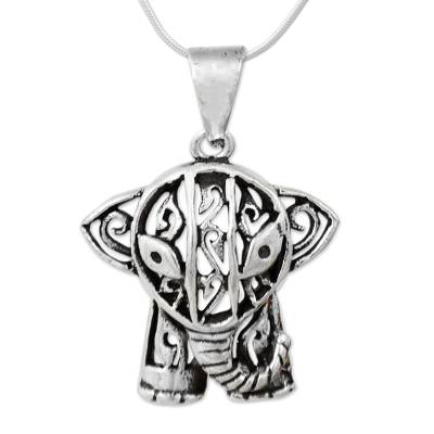 Sterling silver pendant necklace, 'Elephant Gaze' - Hand Crafted Sterling Silver Necklace with Elephant Pendant