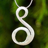 Sterling silver pendant necklace, 'Serpentine' - Sterling Silver Snake Chain Necklace with Letter S Pendant