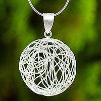 Sterling silver pendant necklace, 'Spherical Illusion'