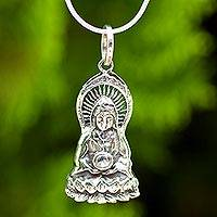 Sterling silver pendant necklace, 'The Guan Yin' - Hand Crafted Sterling Silver Necklace with Pendant