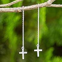 Sterling silver threader earrings, 'Chain of Purity' - Hand Crafted Sterling Silver Cross Threader Earrings