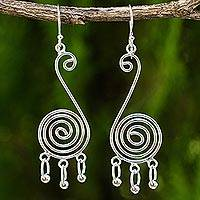 Sterling silver dangle earrings, 'Mesmerizing Ways' - Contemporary Spiral Shaped Sterling Silver Dangle Earrings
